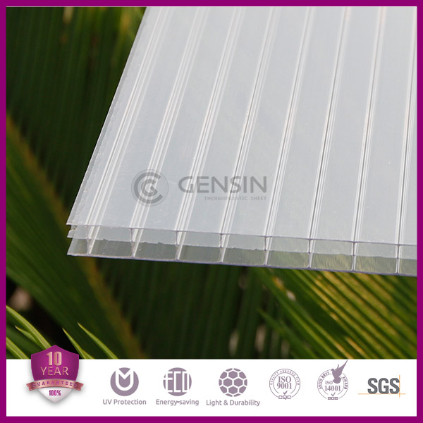 Gensin 6mm/8mm/10mm/12mm/16mm polycarbonate 3-wall sheet/ pc greenhouse sheet/roofing sheet