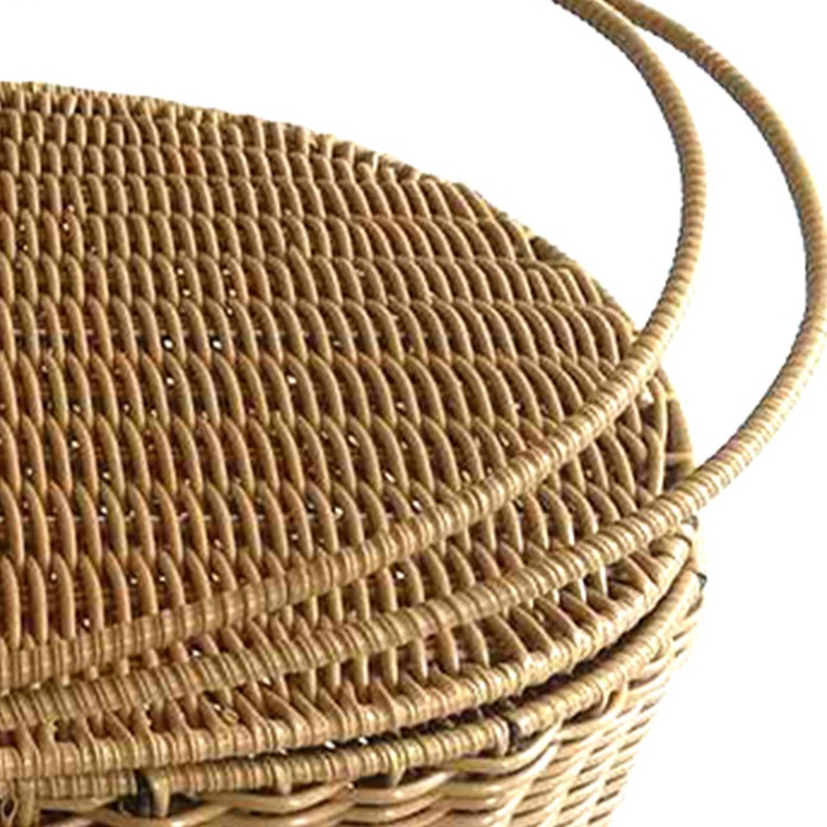 S&D handmade houseware empty plastic wicker rattan picnic basket with handle for food storage