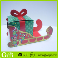 customized hot sell unique Christmas sleigh handicraft gift paper box
