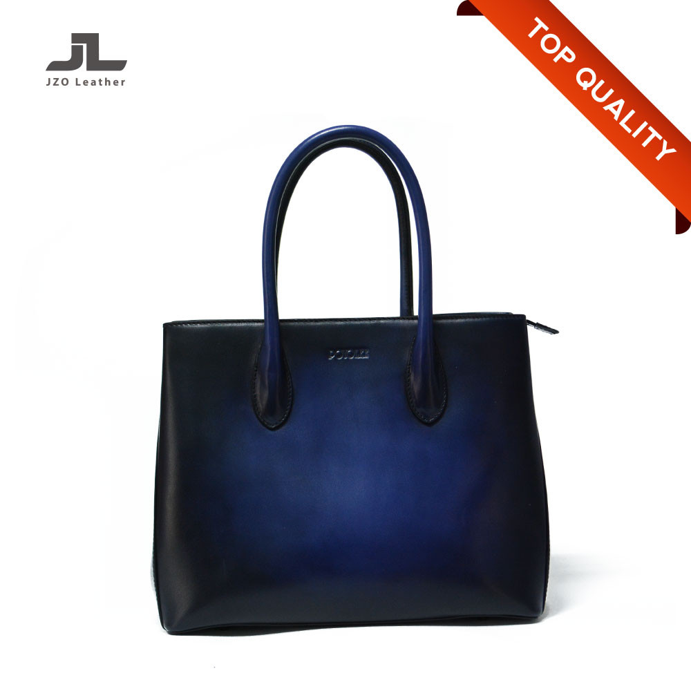 Customized Women Hand Brush-off Effect Genuine Leather Bags Handbag