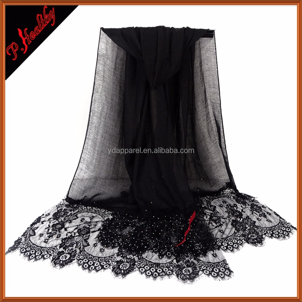 2016 Latest Design Cotton Lace Scarf Hijabs with stones