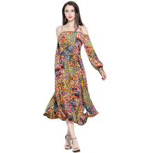Spaghetti Strap Indonesia Dress Style Long Sleeve Floral Latest Casual Dress Designs