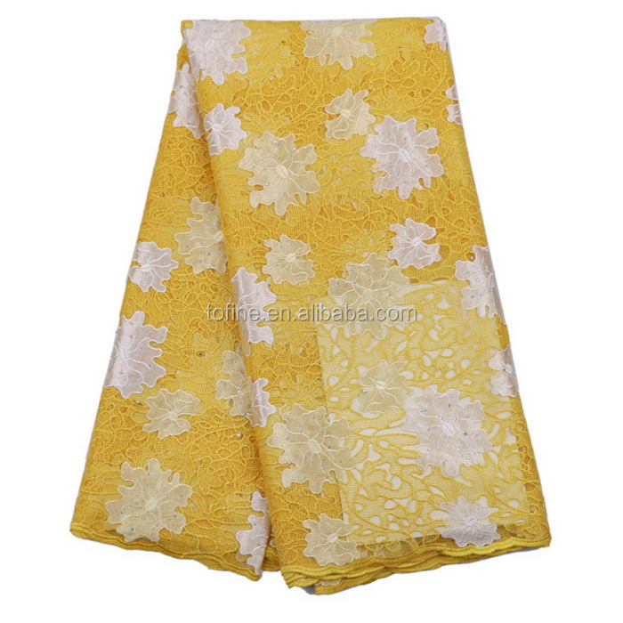 popular style tulle beaded lace fabric factory offer yellow french lace fabric