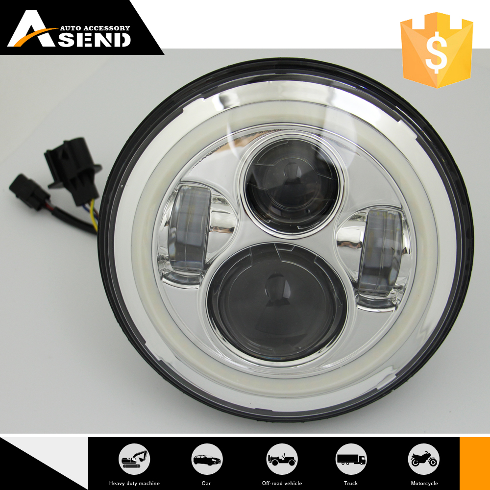 Black/chrome bezel 45W white lighting with whole halo 7inch LED round headlight