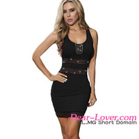 2016 Fashion Black Bodycon Studded Mesh Insert Mini sexy frock design dress