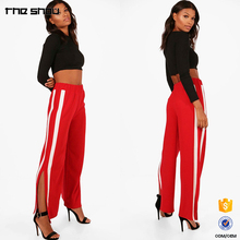 Custom OEM Manufacturers Women Contrast Stripes Panel Wide Leg Trousers