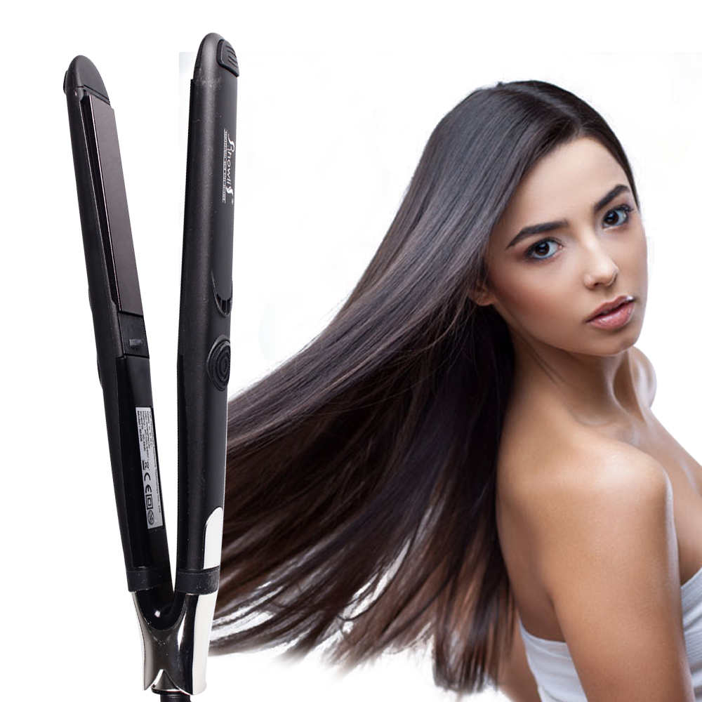Ceramic flat iron 2-in-1 straightener straightening iron & curling iron nano titanium