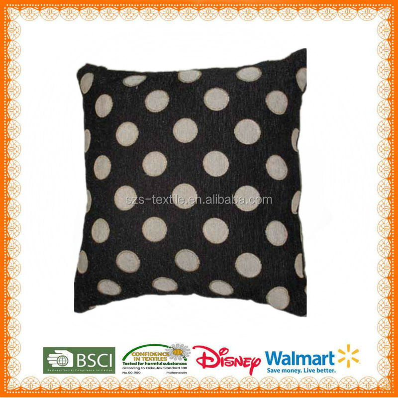 100%polyester print dot black cushion