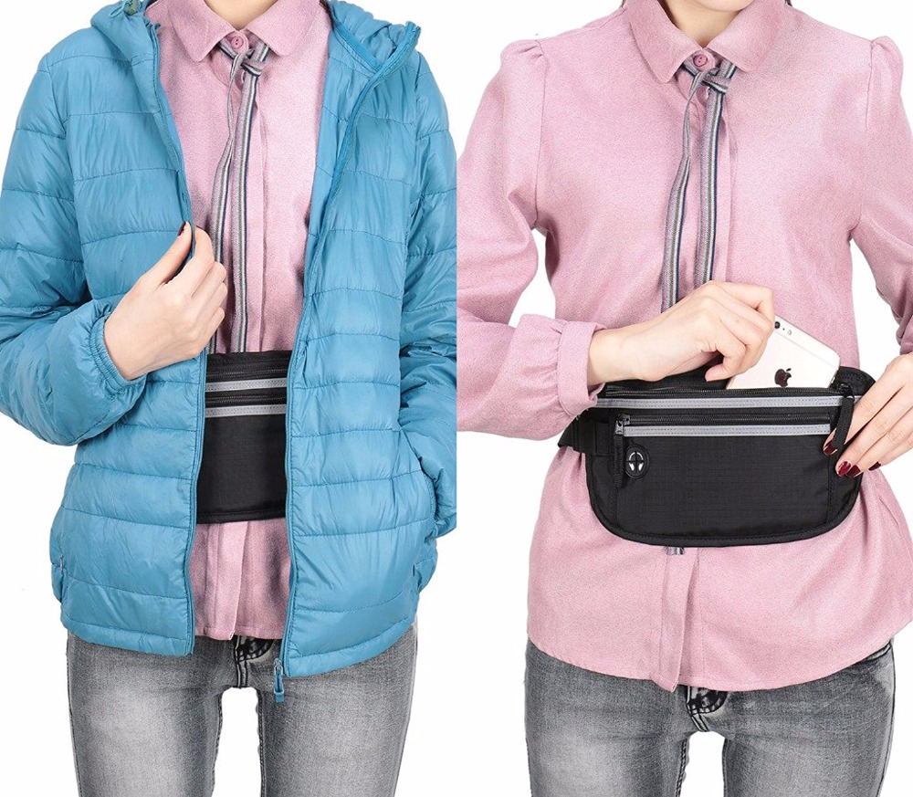 Amazon Washable Light Waterproof Hidden Waist Travel RFID Money Belt Bag