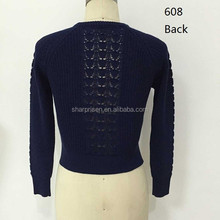 2016 fall/winter crew neck long sleeve texture knitting way on center front and back sweater