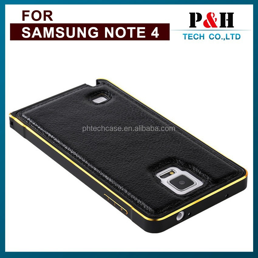 Aluminum Frame Metal Bumper Case Cover with Genuine Leather Back For Samsung Galaxy S5/ Note 2 /3 /4