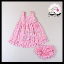 Yawoo 2017 cute pink pattern cotton fashion ruffle spaghetti strap wholesale boutique clothing kids clothes usa style baby wear