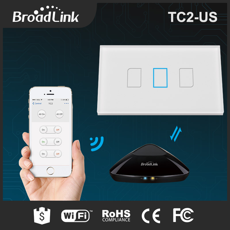 BroadLink TC2 glass touch panel 3 gang wifi remote control electric wall light switch US standard for smart home system
