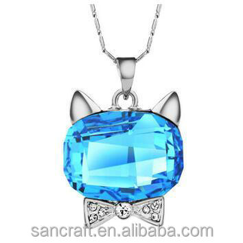 2016 charming cat style jewelry pendent for women hello kitty big austrian crystal necklace