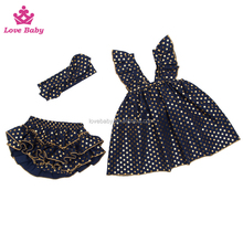 2016 new arrival little polka dots stylish baby swing top set with headband 3pcs set clothing