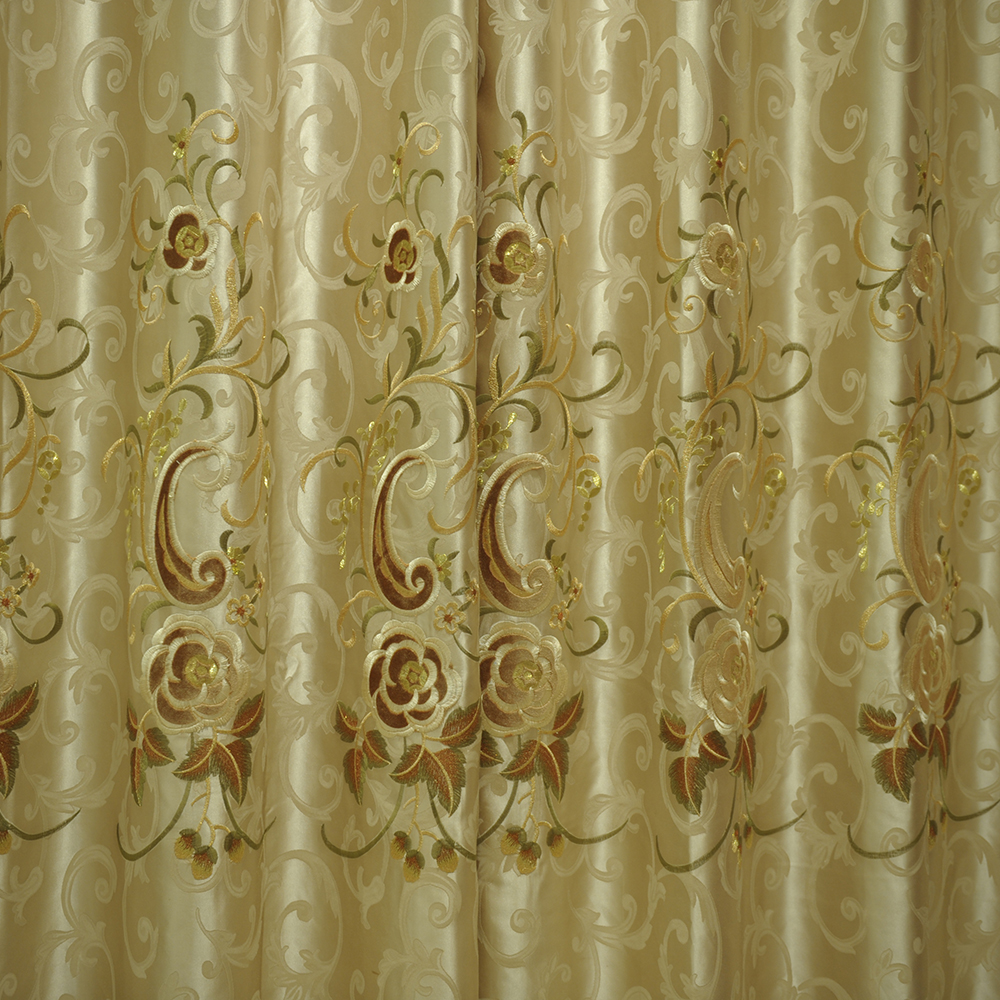 whosale cheap embroidered curtain fabric, polyester jacquard black-out window covering
