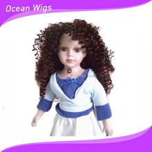 Beautiful and fashion curly with kanekalon fiber doll wig