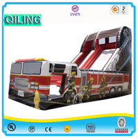 2016QiLing fashionable commercial inflatable slide decorated with fire truck / inflatable slide for sale