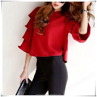 Korean Boutique Women Half Sleeve O-Neck Shirt Summer Solid Color Red Tops Blouse