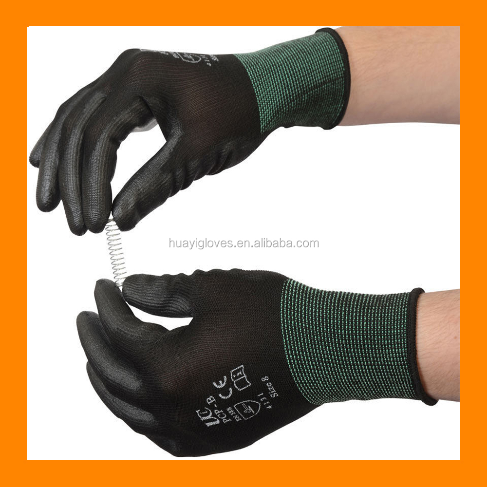 Black Nylon Safety Work PU Grip Gloves For Builders Gardening or Mechanic Work