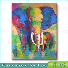 ART Oil Painting 100%Hand-painted Art Knife decoration 3D Abstract canvas Animal Elephant 12x24Inch on wood frame