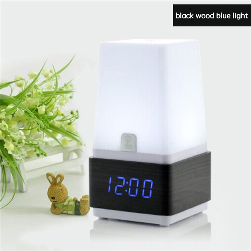 New design unique table clock with night desk lamp function