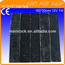 1W 12V 160x30mm PET Laminated Crystalline Silicon PV Solar Module