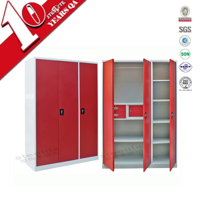 Luoyang metal steel 3 door bedroom kids wardrobe design prices sale to india
