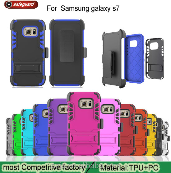 Alibaba express TPU+PC 3 in 1 dual layer case with kickstand for Samsung galaxy s7 edge / s7 free sample cell phone case