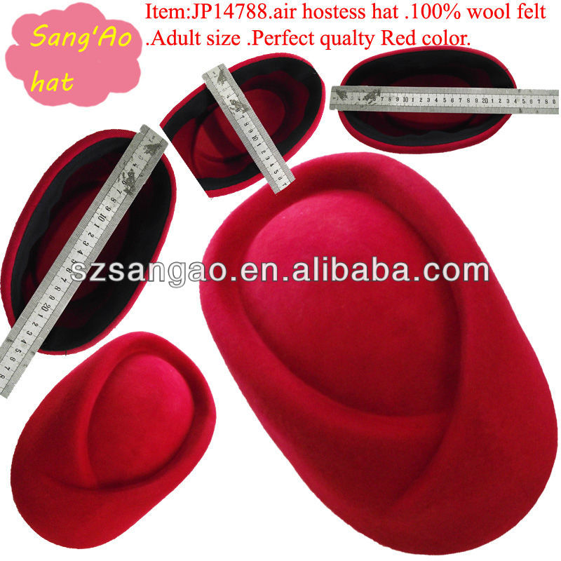 Hot sell/making student felt winter hat air hostess Red lana beret cap for woman100%wool felt wear for airline /railways/hotel
