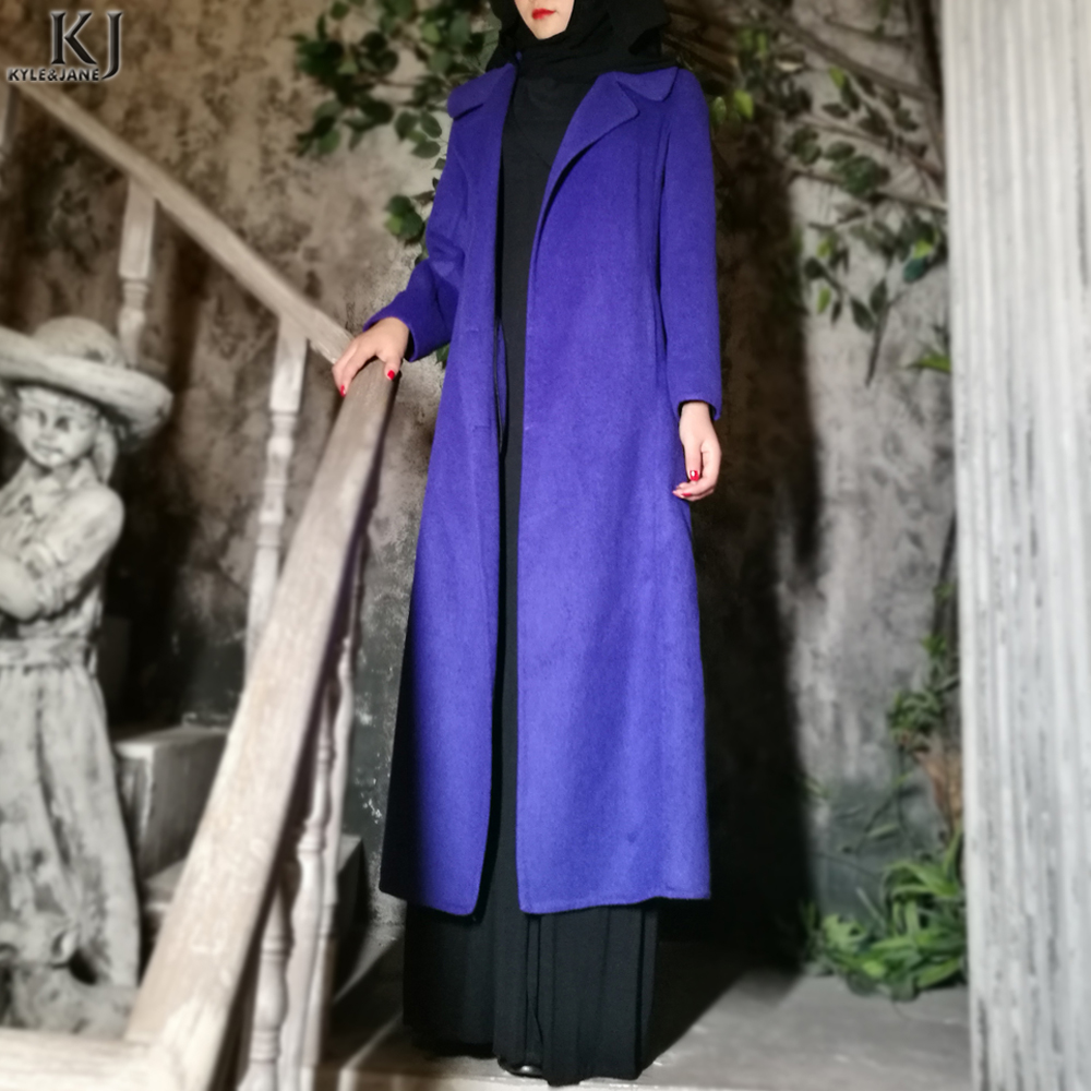 KJ Winter women wool clothes navy cashmere coat long with pockets manufacturer for sale