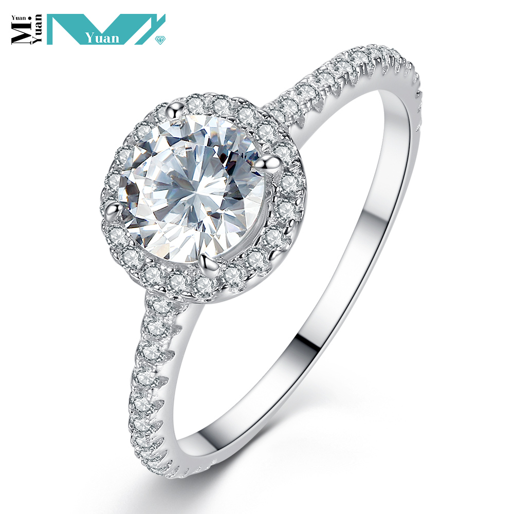 Rhodium Plated 925 Sterling Silver Cubic Zirconia Simulated Diamond Classic Round Halo Ring