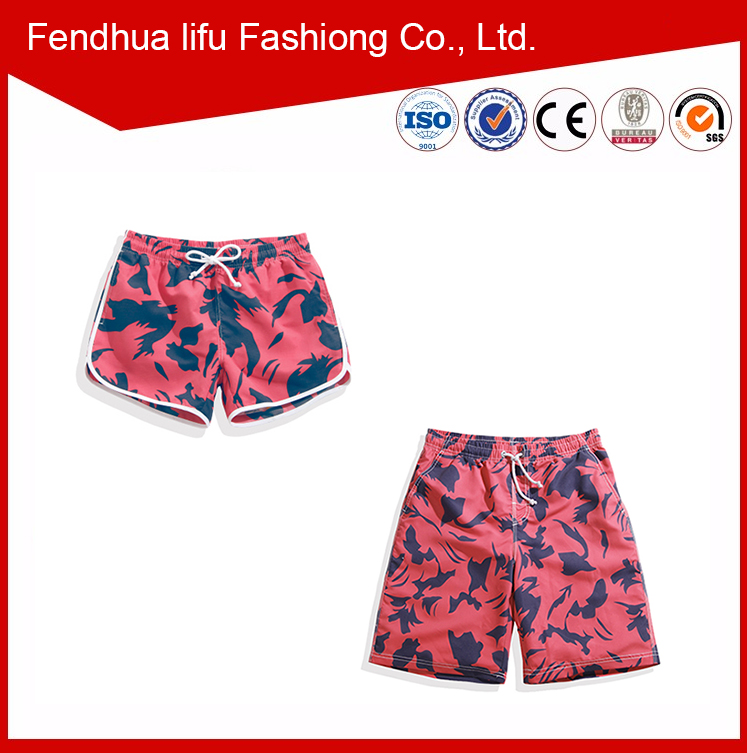 2016 Lovers beach pants flower fashion New couple shorts swimming Men Women board shorts
