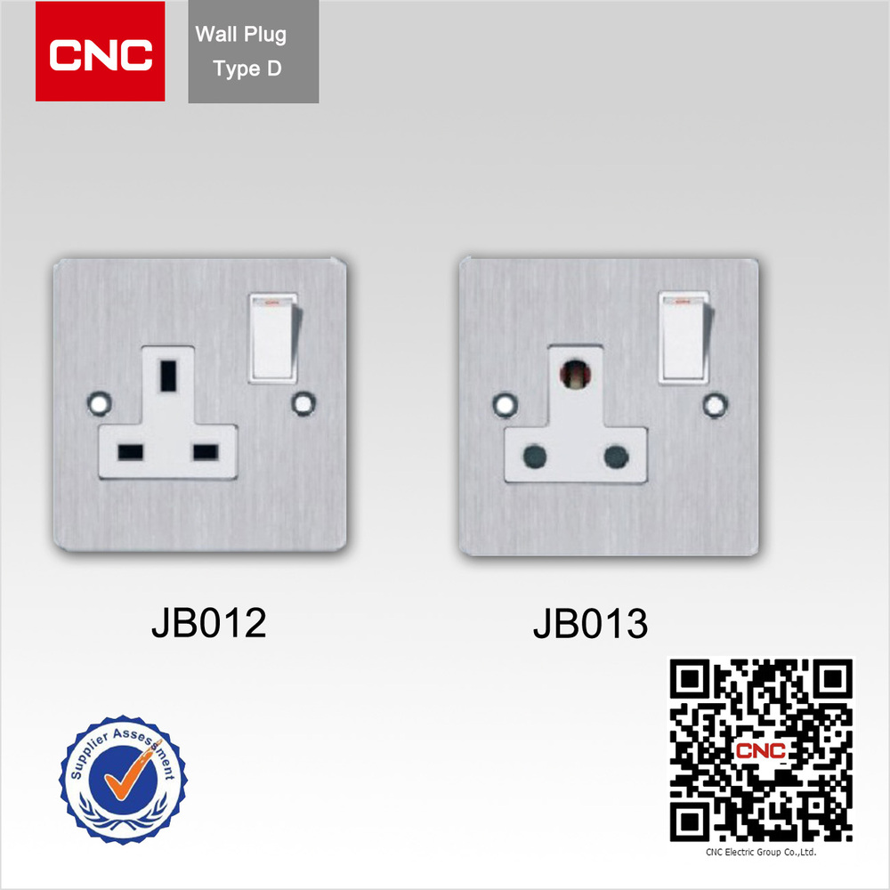 China Metal Wire Drawing 1gang 3pin Wall Switch And Socket - Buy ...
