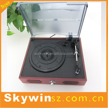 Portable Wooden USB SD Vinyl Record Turntable Player Bluetooth