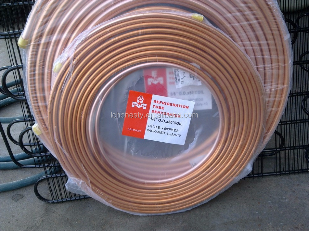 ASTM B280 6.35 mm diameter air condition rolled copper pipe tube coils