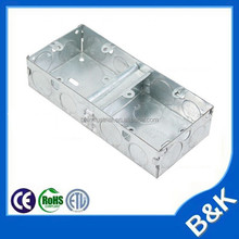 British duplex Steel Back Boxes UK 3x3 square Metal Outlets Steel wall switches and sockets UK Back Box
