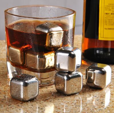 Bullet Shaped Whiskey Stones Chills Drinks Stainless Steel Gift Set 6 Stones Rocks Cubes
