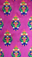 Kutchi Mottif Style Multicolor Thread With Mirror work On Dark Pink Art Silk Fabric.