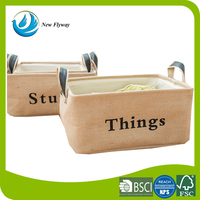 Letters printing folding jute decorative storage cube with handle