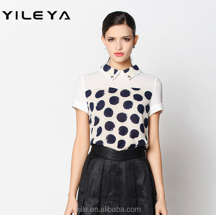 promotional white dot printed new year high neck design of blouse for ladies