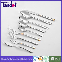 OEM elegant high class dishwasher safe stainless steel gold plated cutlery set