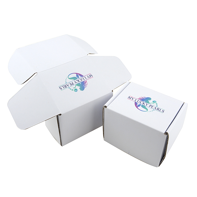 Cheap custom printed shipping boxes simple print white corrugated paper box