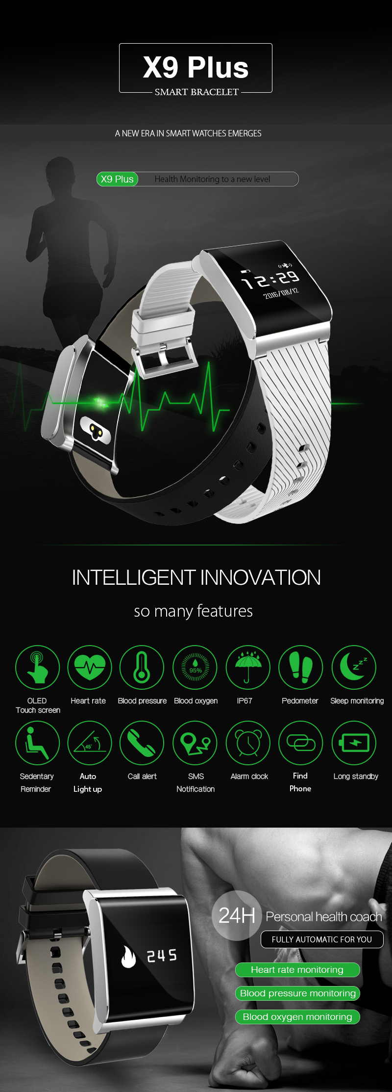 Original X9 Plus Smart Watch Touch Screen Heart Rate Monitor Blood Pressure Blood Oxygen Monitor Smart band Smart Bracelet
