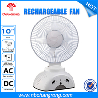 Electric Portable Usb Small Table Certificated Plastic Led Rechargeable Fan