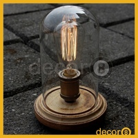 Modern Industrial Vintage Mendel Wooden Base Glass Table Lamp