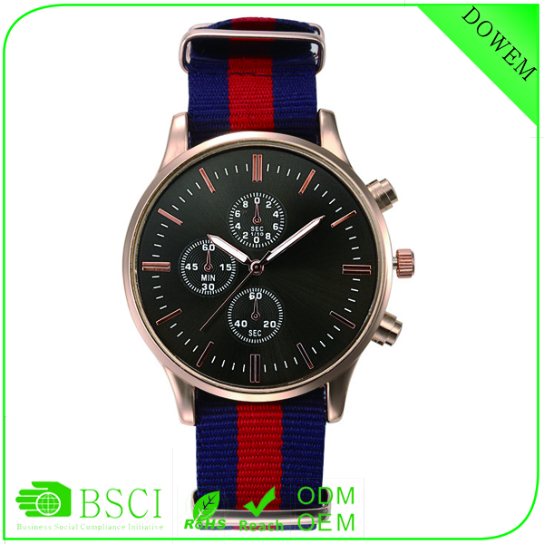 2016 Golden case three eyes two buttons Nylon Strap China watch factory japan movement stainless steel watch