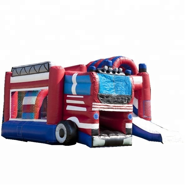 Commercial grade kids outdoor fire truck inflatable bounce house/inflatable jumping castle for sale