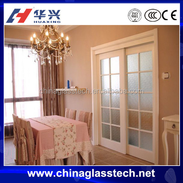 CE approved powder coated laminated glass aluminum frame sliding internal door
