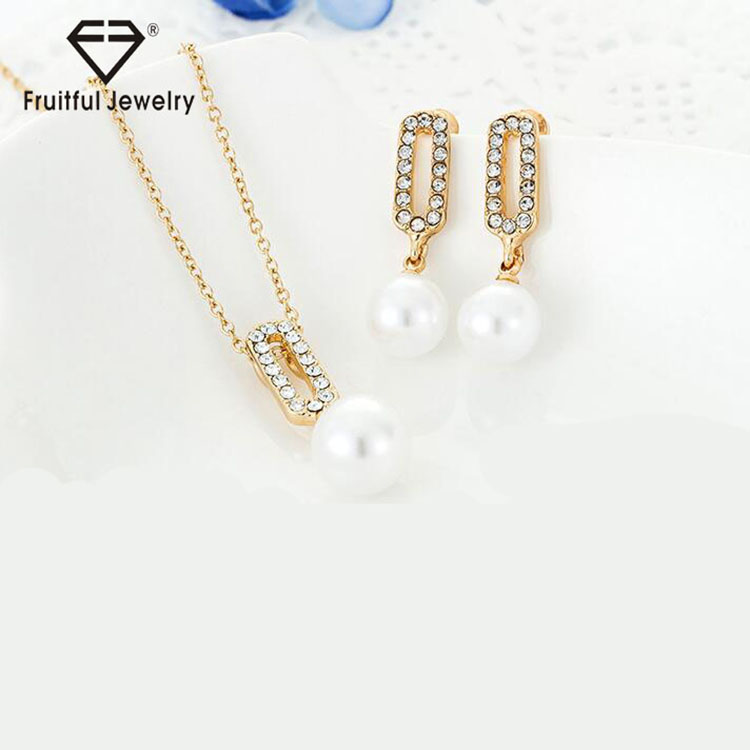 2016 New Imitation Pearl Jewelry Sets KC Gold Silver Color Alloy Chain Necklace and Drop Earrings Jewelry